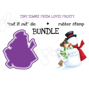 "TINY TOWNIE FRIDA loves FROSTY ""cut it out"" + rubber stamp BUNDLE"