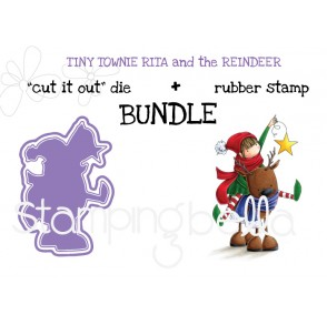 "TINY TOWNIE RITA and the REINDEER ""cut it out"" die + rubber stamp BUNDLE (save 15%)"