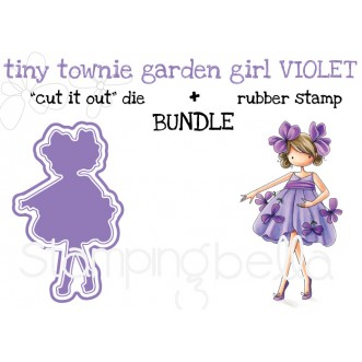 "tiny townie GARDEN GIRL VIOLET RUBBER STAMP + ""CUT IT OUT"" DIE BUNDLE (save 15%)"