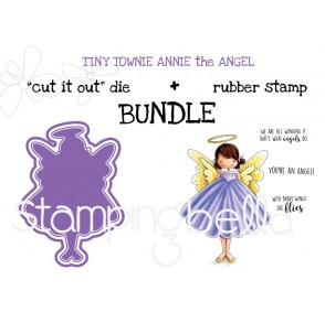 "Tiny Townie ANNIE the ANGEL RUBBER STAMP + ""CUT IT OUT"" DIE BUNDLE (save 15%!)"