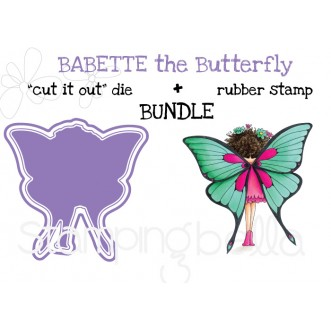 "tiny townie butterfly girl BABETTE RUBBER STAMP + ""CUT IT OUT"" DIE BUNDLE (save 15%)"