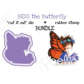 "tiny townie butterfly girl BESS RUBBER STAMP + ""CUT IT OUT"" DIE BUNDLE (save 15%)"