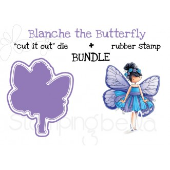 "tiny townie butterfly girl BLANCHE RUBBER STAMP + ""CUT IT OUT"" DIE BUNDLE (save 15%)"