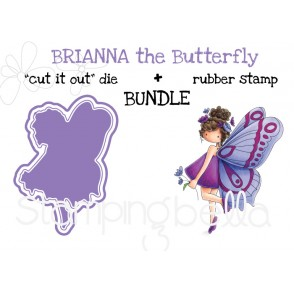 "tiny townie butterfly girl BRIANNA RUBBER STAMP + ""CUT IT OUT"" DIE BUNDLE (save 15%)"