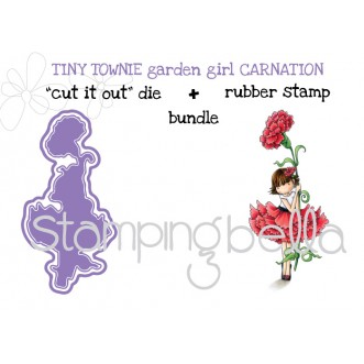 "tiny townie GARDEN GIRL CARNATION RUBBER STAMP + CUT IT OUT ""BUNDLE"" (save 15%!)"