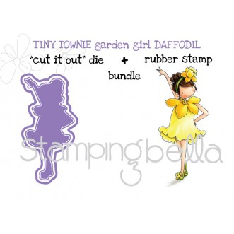 "tiny townie GARDEN GIRL DAFFODIL RUBBER STAMP + ""CUT IT OUT"" DIE (save 15%)"