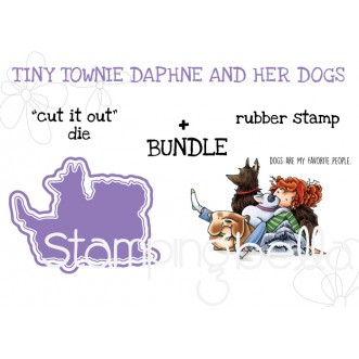"tiny townie DAPHNE and her DOGS RUBBER STAMP + ""CUT IT OUT"" DIE BUNDLE"