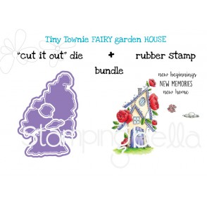 "TINY TOWNIE FAIRY GARDEN FAIRY HOUSE ""CUT IT OUT"" DIE + RUBBER STAMP BUNDLE (save 15%)"