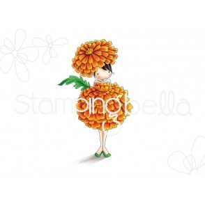 tiny townie GARDEN GIRL MARIGOLD (OCTOBER BIRTH FLOWER) RUBBER STAMP