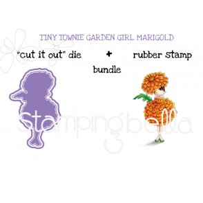"tiny townie GARDEN GIRL MARIGOLD RUBBER STAMP + ""CUT IT OUT"" DIE BUNDLE (save 15%)"