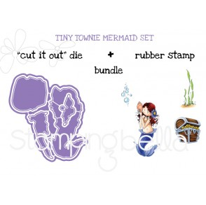 "Tiny Townie MERMAID SET ""CUT IT OUT"" DIES + RUBBER STAMP  BUNDLE (save 15%)"