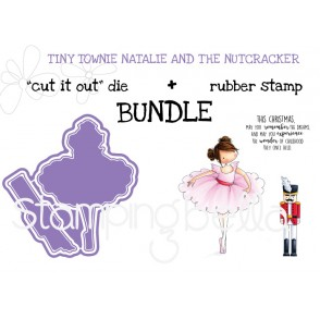 "TINY TOWNIE NATALIE and the NUTCRACKER ""cut it out"" die + rubber stamp bundle"