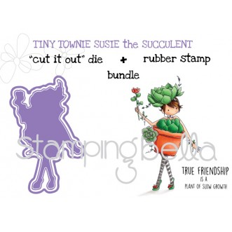 "Tiny Townie SUSIE the SUCCULENT RUBBER STAMP + ""CUT IT OUT"" DIES BUNDLE (save 15%)"
