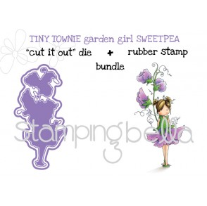 "tiny townie GARDEN GIRL SWEETPEA RUBBER STAMP + ""CUT IT OUT"" DIE ""BUNDLE"" (save 15%)"