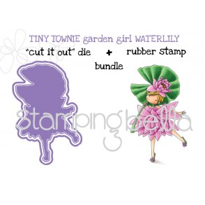 "tiny townie GARDEN GIRL WATER LILY RUBBER STAMP + ""CUT IT OUT"" BUNDLE (save 15%)"