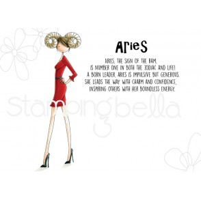 UPTOWN ZODIAC GIRL ARIES rubber stamp
