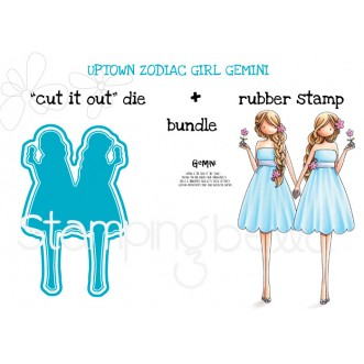 "UPTOWN ZODIAC GIRL GEMINI RUBBER STAMP + ""CUT IT OUT"" DIE BUNDLE (SAVE 15%)"