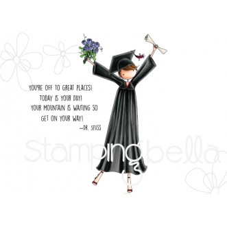 uptown girl GRACE the GRADUATE rubber stamp