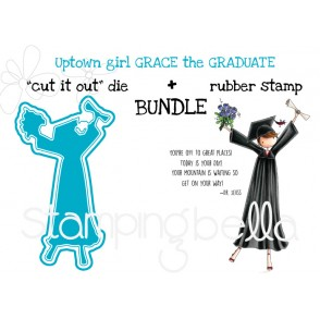 "UPTOWN GIRL GRACE the GRADUATE RUBBER STAMP + ""CUT IT OUT"" DIE BUNDLE (Save 15%)"