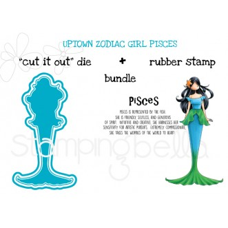 "UPTOWN ZODIAC GIRL PISCES RUBBER STAMP + ""CUT IT OUT"" DIE BUNDLE (save 15%!)"