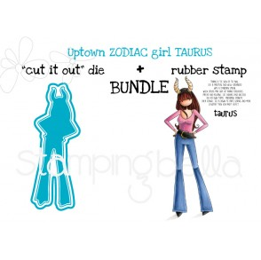 "UPTOWN ZODIAC GIRL TAURUS rubber stamp + ""CUT IT OUT"" DIE BUNDLE (save 15%)"