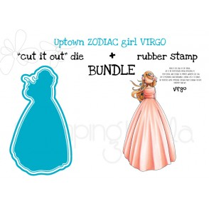 "UPTOWN ZODIAC GIRL VIRGO rubber stamp + ""CUT IT OUT"" die BUNDLE (save 15%)"