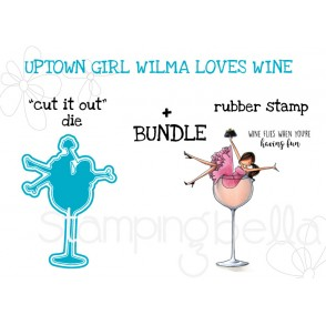 "UPTOWN GIRL WILMA LOVES WINE RUBBER STAMP + ""CUT IT OUT"" DIE BUNDLE"