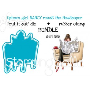 "Uptown girl Nancy reads the Newspaper RUBBER STAMP + ""CUT IT OUT"" DIE BUNDLE (save 15%)"
