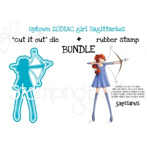 "UPTOWN ZODIAC GIRL SAGITTARIUS rubber stamp + ""CUT IT OUT"" die BUNDLE (save 15%)"