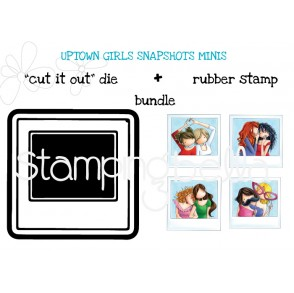 "UPTOWN GIRLS SNAPSHOTS MINIS RUBBER STAMP + ""CUT IT OUT"" DIE BUNDLE (save 15%)"