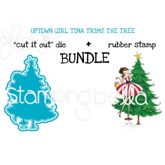 "UPTOWN GIRL TINA TRIMS THE TREE ""cut it out"" + rubber stamp BUNDLE"