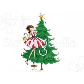 UPTOWN GIRL TINA TRIMS the TREE rubber stamp