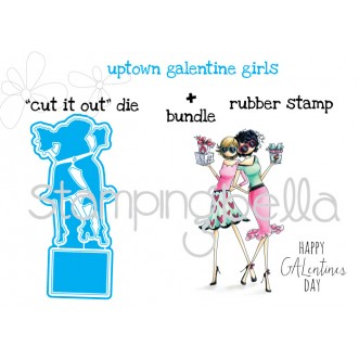"uptown GALENTINE GIRLS ""CUT IT OUT"" DIES + RUBBER STAMP BUNDLES"