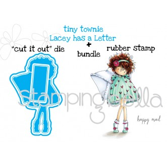 "tiny townie LACEY HAS A LETTER ""CUT IT OUT DIE"" + RUBBER STAMP BUNDLE (save 15% when purchased together)"
