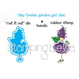 "tiny townie GARDEN GIRL LILAC ""CUT IT OUT"" DIE + RUBBER STAMP BUNDLE"