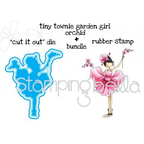 "tiny townie GARDEN GIRL ORCHID ""CUT IT OUT DIE"" + RUBBER STAMP BUNDLE (Save 15% when you purchase together)"