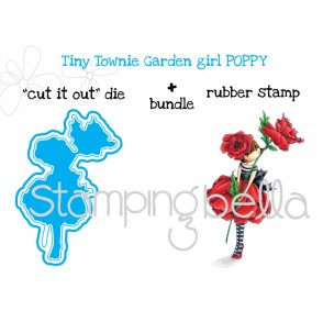 "tiny townie GARDEN GIRL POPPY ""CUT IT OUT"" DIE + RUBBER STAMP bundle (save 15 % when purchased together)"
