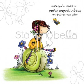 Tiny Townie SALLY rides her SNAIL (includes sentiment)