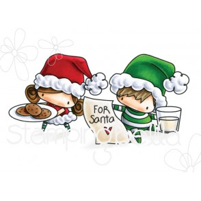 THE LITTLES WAITING FOR SANTA rubber stamp