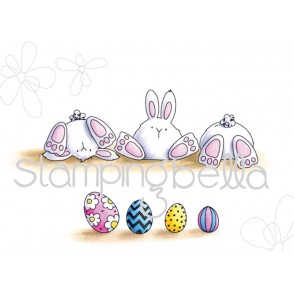 row of BUNNY WOBBLES RUBBER STAMP (SET OF 5 STAMPS)