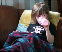 "jayden sipping her ""MUKKAH"" (strawberry milk-dont ask) before carpool arrives"
