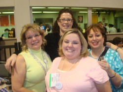 Terri Conrad (former designer for Webster's Pages-- LOVE THAT PAPER), Me, Nicky and Shannan Teubner (STEUBY!!)