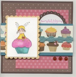 Jeanette Smith used CUPPYCAKE with a HUGGABUG on top