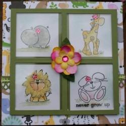 Carolyn Orgar used our AMIMALS.. hippo, giraffe, lion and bunny