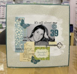 Here Dena used our PRIMA CANVAS SCREENPRINTED PAPER, CLAUDINE HELLMUTH GESSO, COSMO CRICKET GIRL FRIDAY ELEMENTS