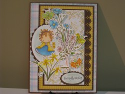 Mary Clark used 5 STAMPS count 'em 5 STAMPIES on this card: IZZIE HAS A DAISY, FUNKY IRISES, PAPILLON KETTO, SKETCHY WILDFLOWERS, WILDFLOWER TRIO