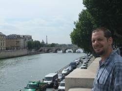 ryan at the Seine.. can you see the Eiffel tower in the background?