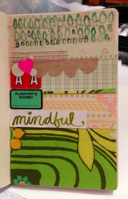 "Collage and the word ""mindful"" was written by me with ink and a paintbrush.  Love the pop of neon"