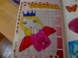 "Here's Mary's page with a ""built in"" grid in the background!"