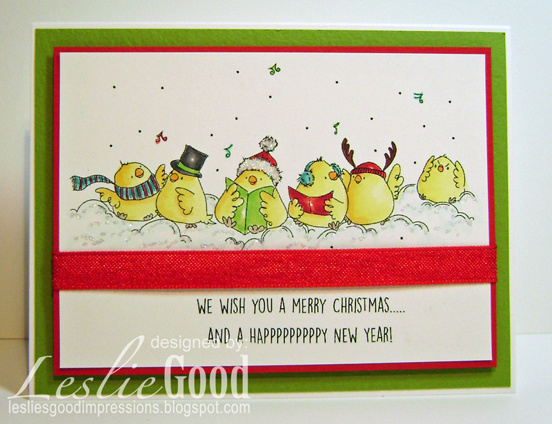 Stamping Bella Caroling Chicks rubber stamp. Click through to read the blog post!